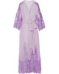 Rosamosario - Come Ti Amo Oscar Wilde Lace-paneled Silk-georgette Robe -  Lyst f03aa64fc