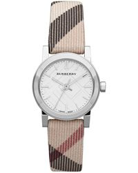 Burberry Ladies Small Round Check Watch - Lyst