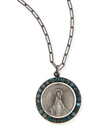 Katie Design Jewelry - Modern Mary Charm Necklace With Blue Diamonds - Lyst