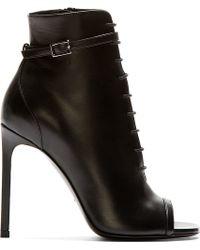 Saint Laurent Black Leather Open Toe Jane Boots - Lyst