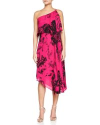 Halston Heritage One-Shoulder Printed Asymmetric Dress - Lyst