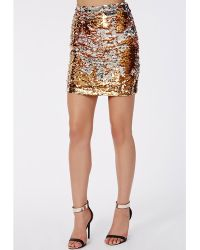 Missguided Two Way Sequin Mini Skirt Gold - Lyst