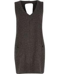River Island Brown Check Sleeveless Shift Dress - Lyst