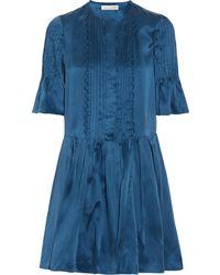 Etoile Isabel Marant Valley Pleated Washed-Silk Mini Dress - Lyst