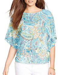 Ralph Lauren Lauren Paisley Print Linen Poncho multicolor - Lyst
