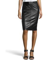 Halston Heritage Paneled Leather Pencil Skirt - Lyst