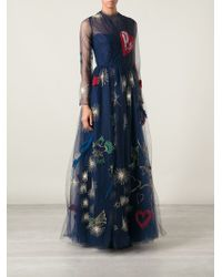 Valentino Embroidered Lace Evening Gown - Lyst