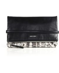 McQ by Alexander McQueen Phlox Python & Leather Fold-Over Clutch - Lyst