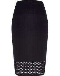 River Island Black Laser Cut Pencil Skirt - Lyst
