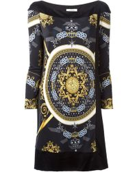 Versace Black Printed Dress - Lyst