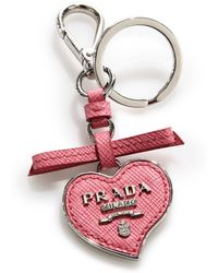 Prada | Saffiano Leather Heart Keychain | Lyst