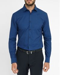 Celio Club Navy Printed Slim-fit Shirt blue - Lyst