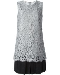 Dolce & Gabbana Floral Lace Pleated Hem Dress - Lyst