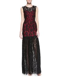 Milly Annika Sleeveless Lace Overlay Gown - Lyst