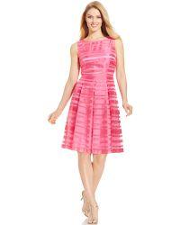 Tahari Asl Sleeveless Illusion-Stripe Pleated Dress - Lyst