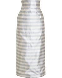 Katie Ermilio - Striped Seamed Midi Skirt - Lyst