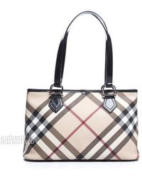 Burberry Pre-owned Nova Check Black Patent Leather Tote Bag - Lyst