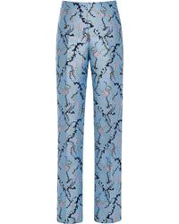 Mary Katrantzou Dehavala Trousers in Foliage Blue - Lyst