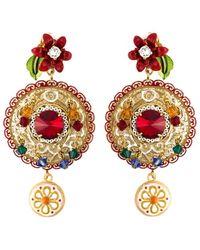 Dolce & Gabbana | Daisy Drop Crystal Filigree Earrings | Lyst