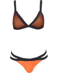 Topshop Mesh Neoprene Triangle Bikini - Lyst