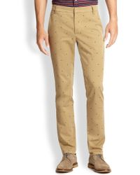 Band Of Outsiders Pin Dot Slim-fit Cotton Pants - Lyst