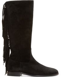 Burberry Prorsum - Black Suede Fringed Boots - Lyst