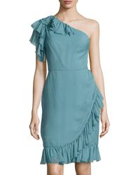 Carolina Herrera One-shoulder Ruffed Chiffon Dress - Lyst