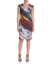 Kay Unger Leather-Trim Brushstroke Shift Dress - Lyst