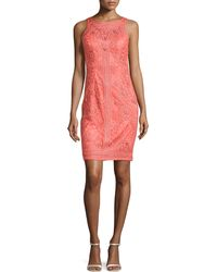 Sue Wong Sleeveless Lace Cocktail Dress - Lyst
