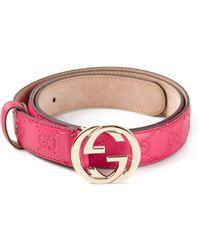 Gucci Pink Ssima Belt - Lyst