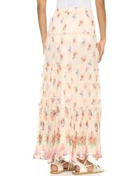 Love Sam | Lily Tiered Maxi Skirt - Peach Combo | Lyst