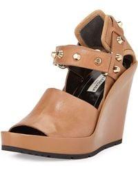 Balenciaga Studded Leather Wedge Sandal beige - Lyst