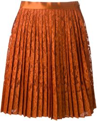 Givenchy Pleated Floral Lace Skirt - Lyst