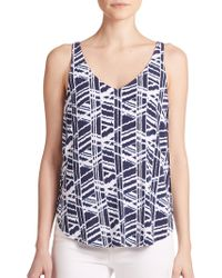 Tart Collections Ansley Printed Cutout Tank Top blue - Lyst