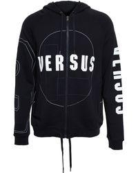Versus  Hooded Sweatshirt With Logo Print black - Lyst