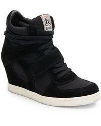 Ash Cool Suede Paneled Wedge Sneakers - Lyst