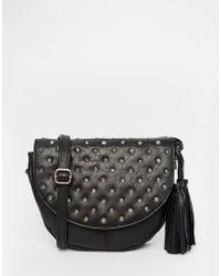 Warehouse - Leather Studded Saddle Bag - Lyst