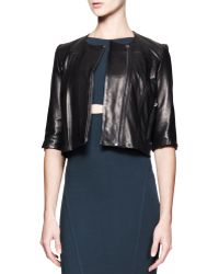 Helmut Lang Petal Cropped Leather Jacket - Lyst