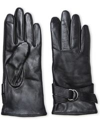 Adrienne Vittadini | Buckled Soft Leather Tech Gloves | Lyst