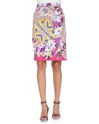 Etro Paisley Faux-wrap Pencil Skirt - Lyst