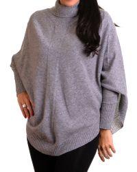 Black.co.uk - Galatina Grey Cashmere Sleeved Poncho - Lyst