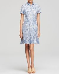 Tory Burch Leaf Print Shirt Dress - Lyst
