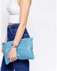 American Apparel - Leather Clutch Bag In Powder Blue - Lyst