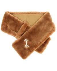 Carven Embroidered Eco Fur Scarf - Lyst