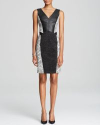 Karen Millen Jersey and Faux Leather Signature Dress   - Lyst