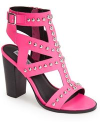Steve Madden 'Serenna' Studded Caged Leather Sandal - Lyst