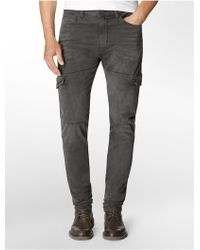 Calvin Klein Tapered Brushed Metal Wash Jeans - Lyst