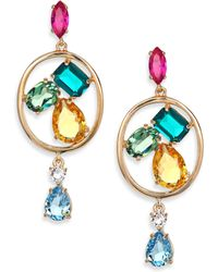 Oscar de la Renta | Kelly Multi-crystal Clip-on Drop Earrings | Lyst