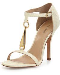 Pour La Victoire Yolanda Golden T-strap Dress Sandal - Lyst