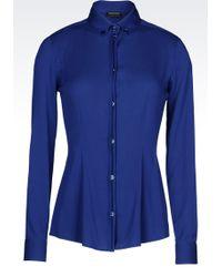 Emporio Armani Button Down Shirt In Stretch Georgette - Lyst